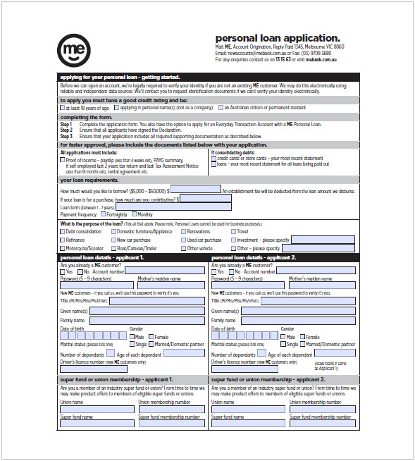bank application for personal loans